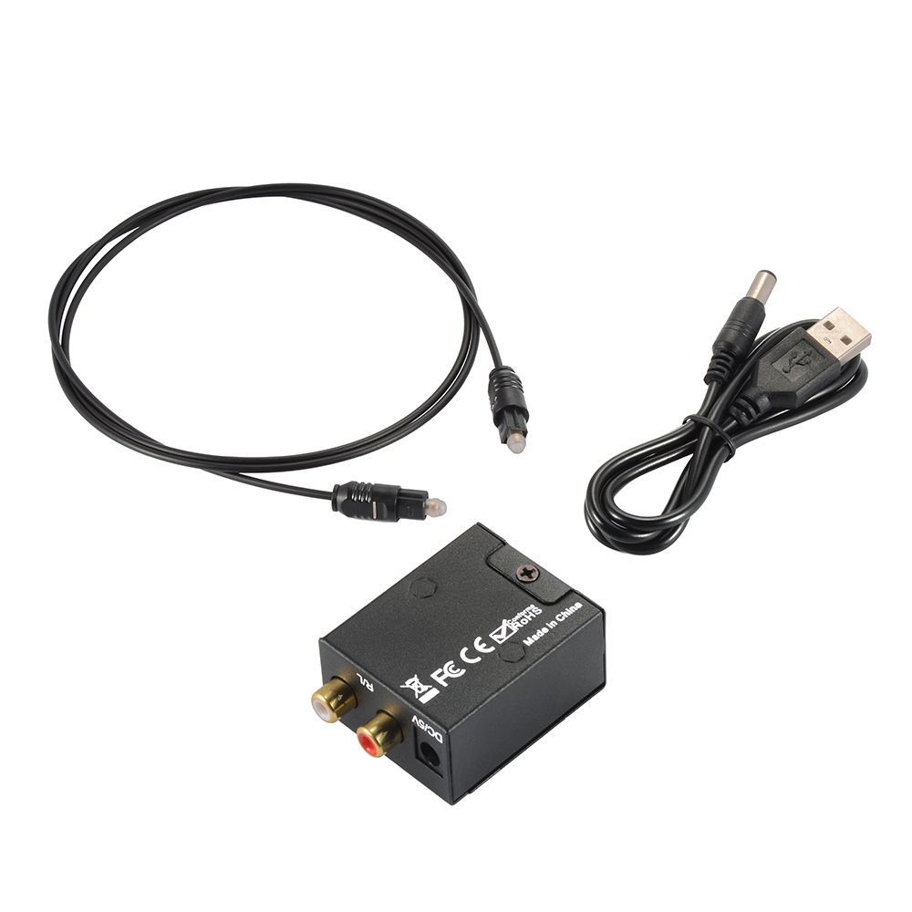 1 x Digital to Analog Audio Converter 1 x Fiber Optical Cable 1 x USB Power  Cable 1 x English User Manual