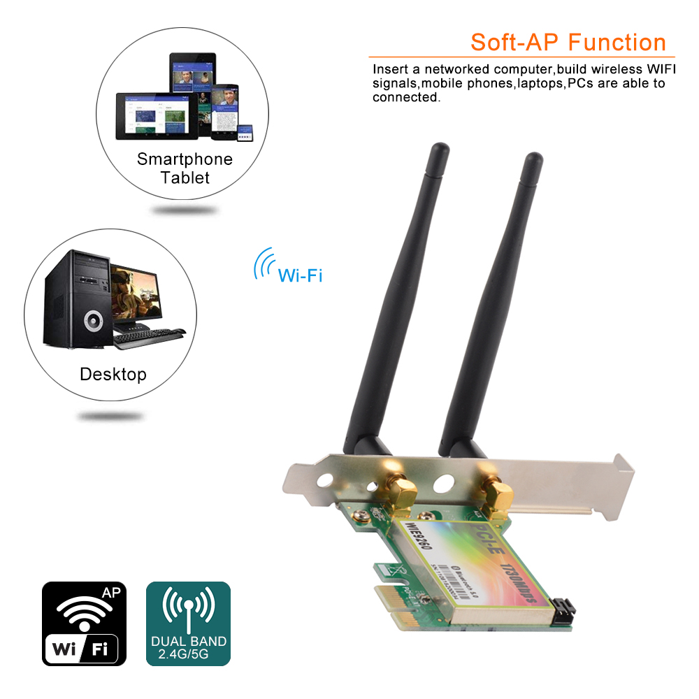 5G/2.4G Dual Band Wireless PCI-E WiFi Network LAN Card Bluetooth5.0 for PCAC1543 ...