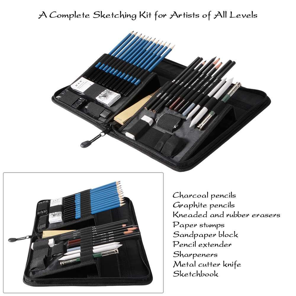 40pcs professional drawing sketching pencils kit art set w zipper case ac788 ebay. Black Bedroom Furniture Sets. Home Design Ideas