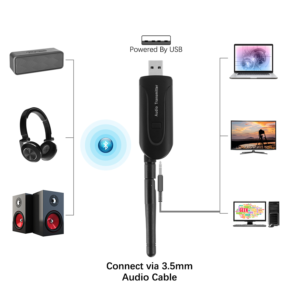 2 In 1 Bluetooth Transmitter Receiver Wireless A2dp For Tv Stereo And Circuit Audio Ac905