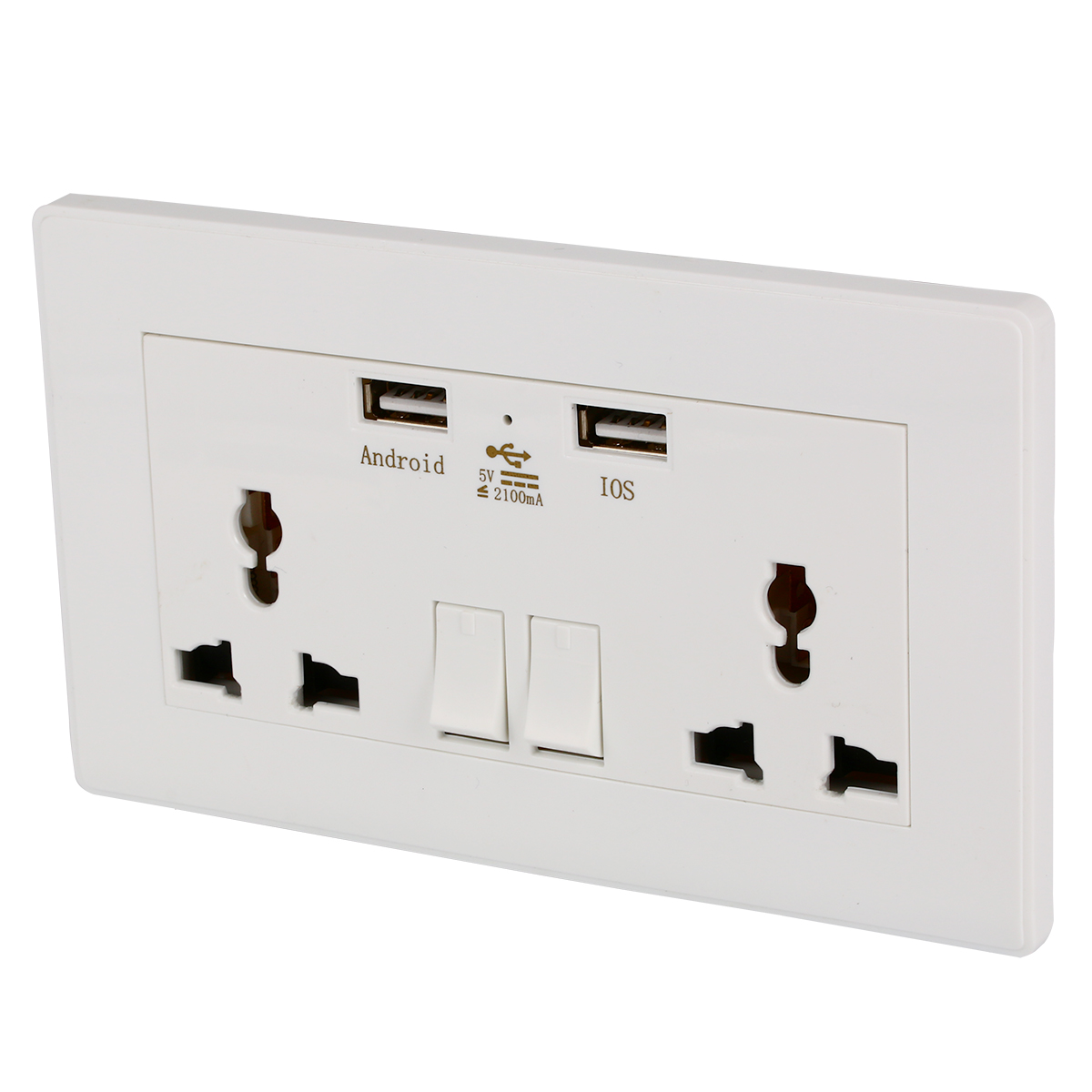 Wall Socket Dual 2 USB Plug Switch Power Supply Plate Universal ...