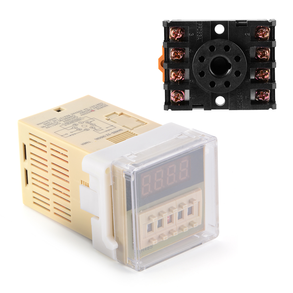 Ac220v Digital Timer Delay Relay Device Programmable Led Display W Circuit Socket Bi599