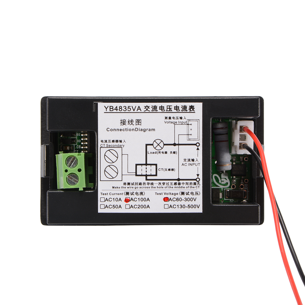 Ac60 300v 100a Digital Voltmeter Ammeter Led Amp Volt Dual Display Panel Wiring Diagram 1 X Voltage Current Meter With Ct