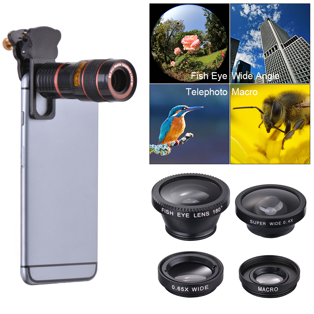 Details about 5in1 Clip on Mobile Phone Camera Lens Kit Fisheye Wide Angle  Macro CPL Tele DC77