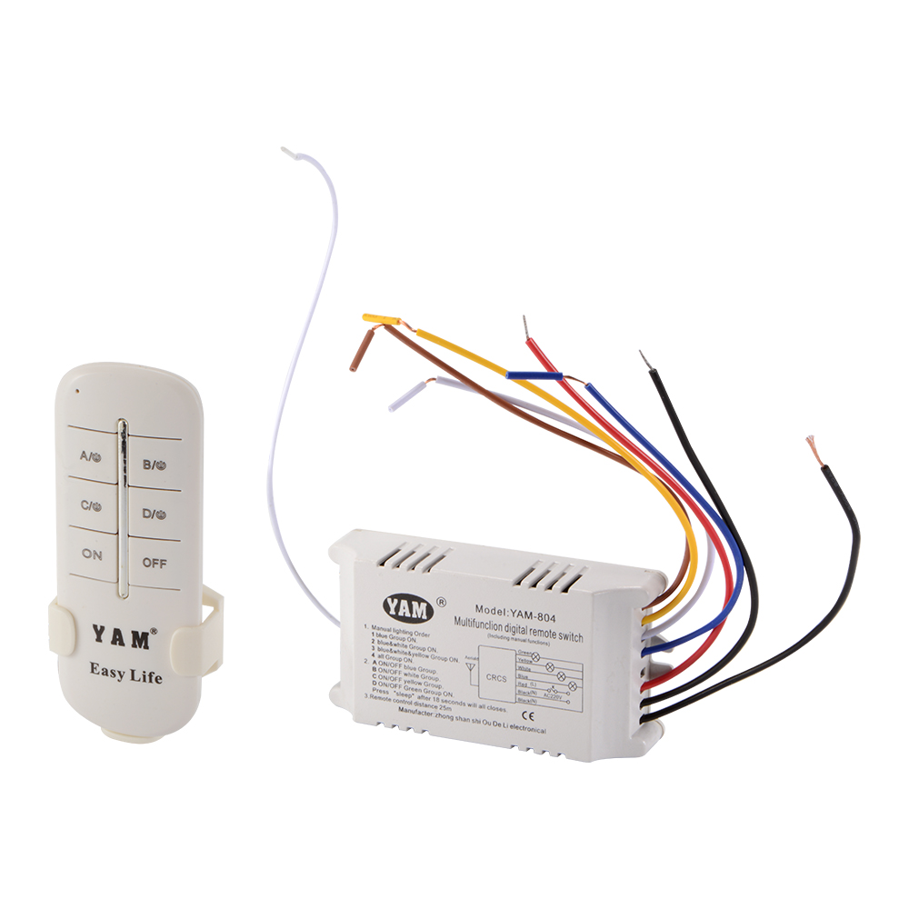 4 Ways On Off 220v Wireless Digital Remote Control Switch Light With Receiver