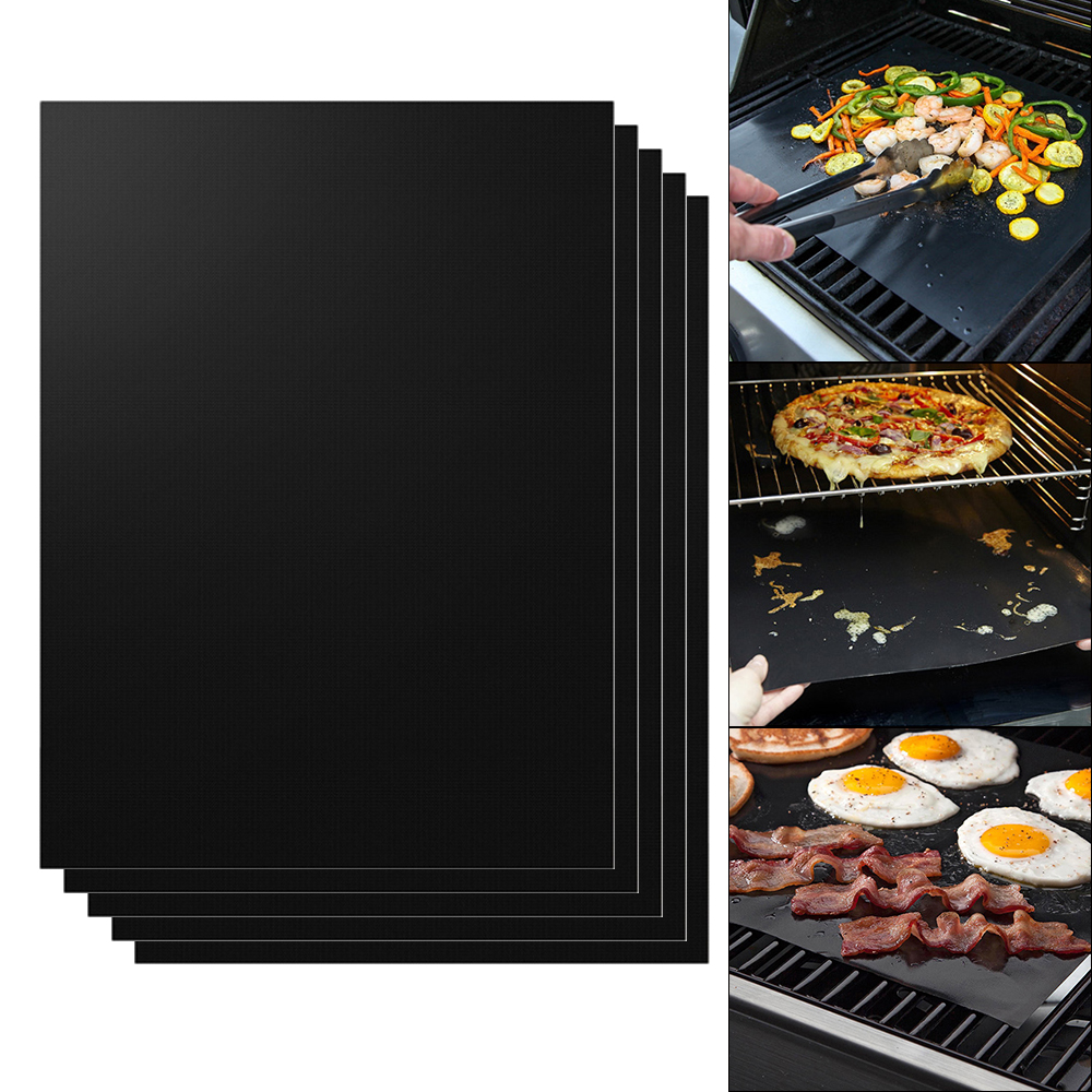 5x tapis de barbecue feuille de cuisson bbq gril r utilisable anti adh sif hs910 ebay. Black Bedroom Furniture Sets. Home Design Ideas