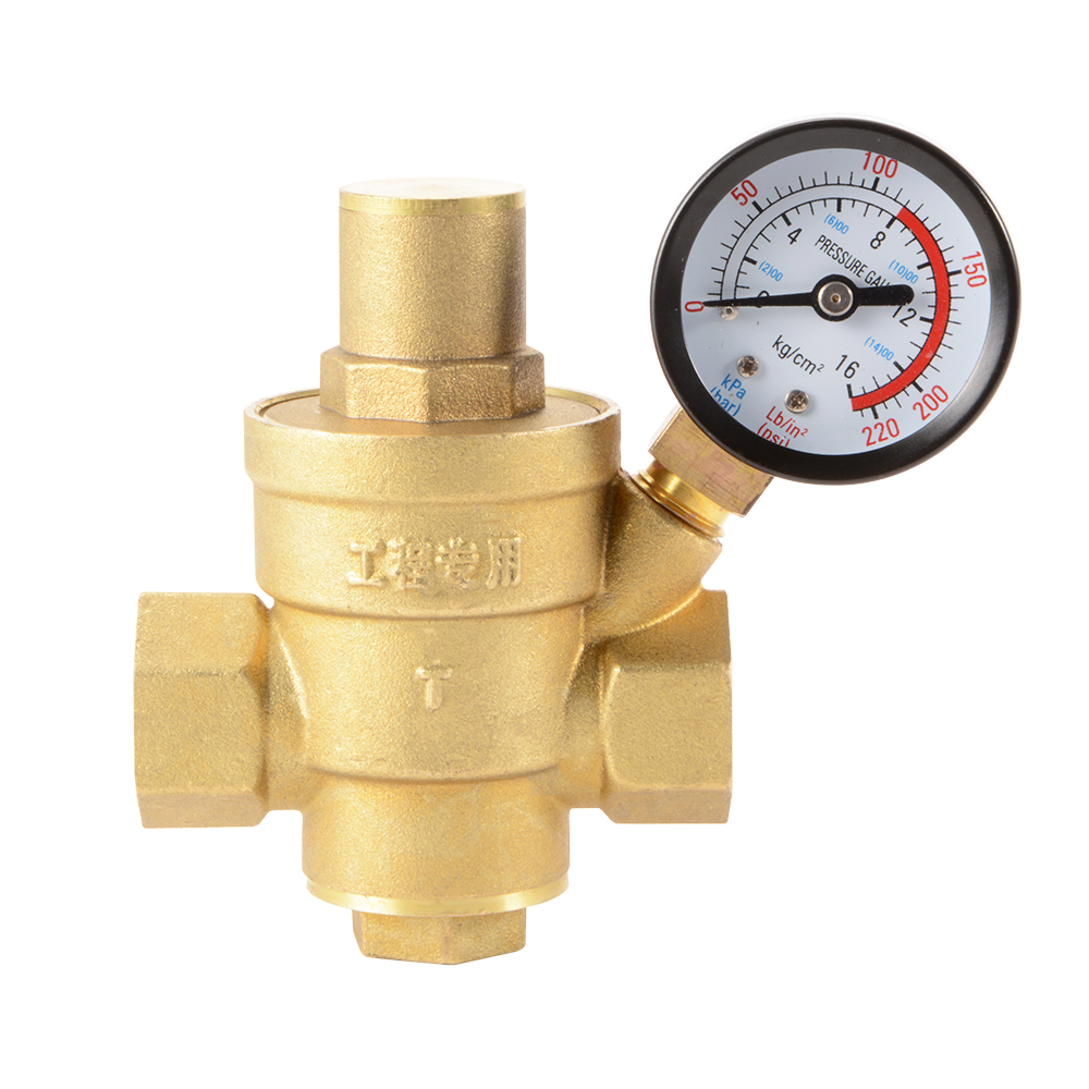 dn15 1 2 water flow pressure regulator brass adjustable reducer gauge hs918 ebay. Black Bedroom Furniture Sets. Home Design Ideas