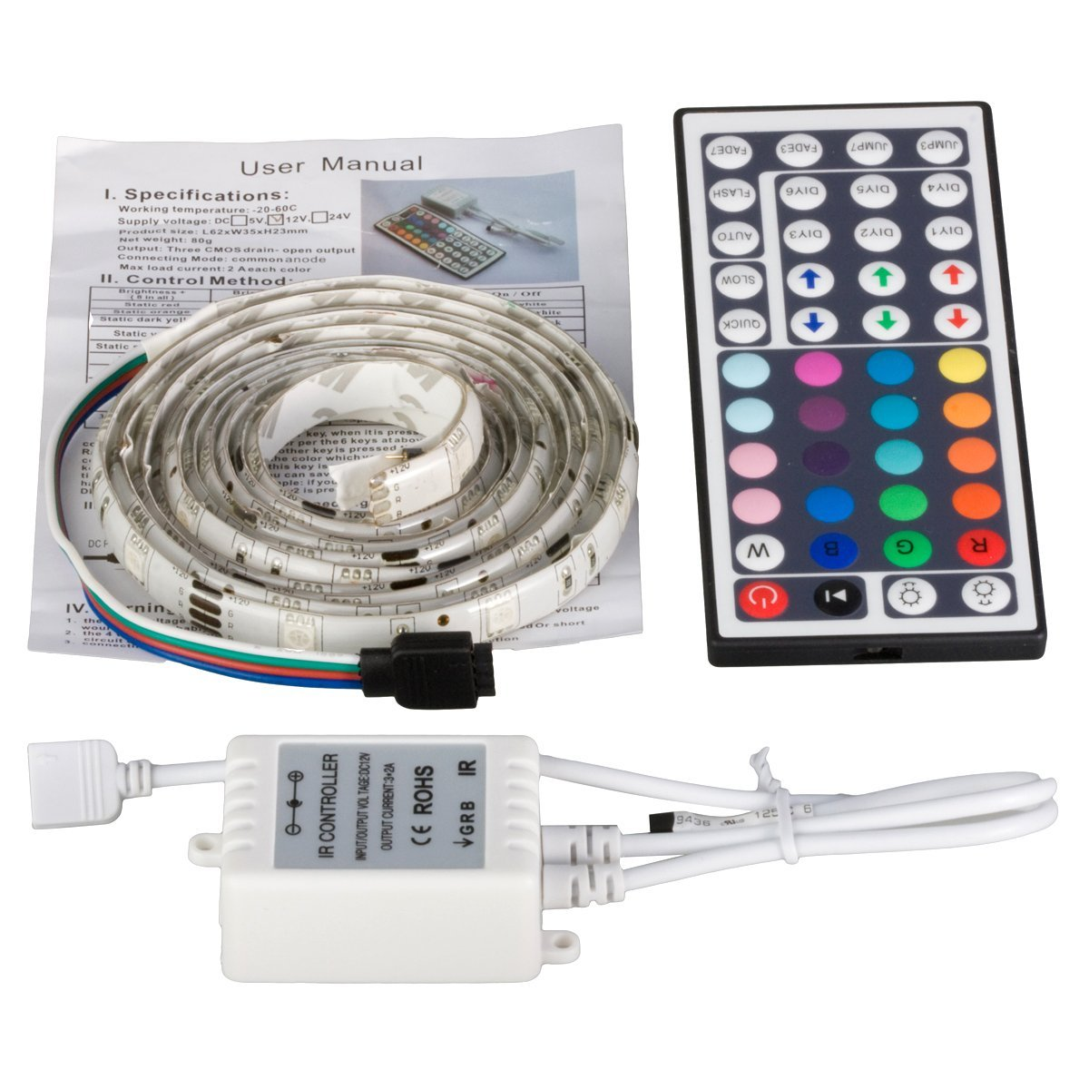 2m 5050 rgb smd led strip light waterproof ip65 44 key. Black Bedroom Furniture Sets. Home Design Ideas