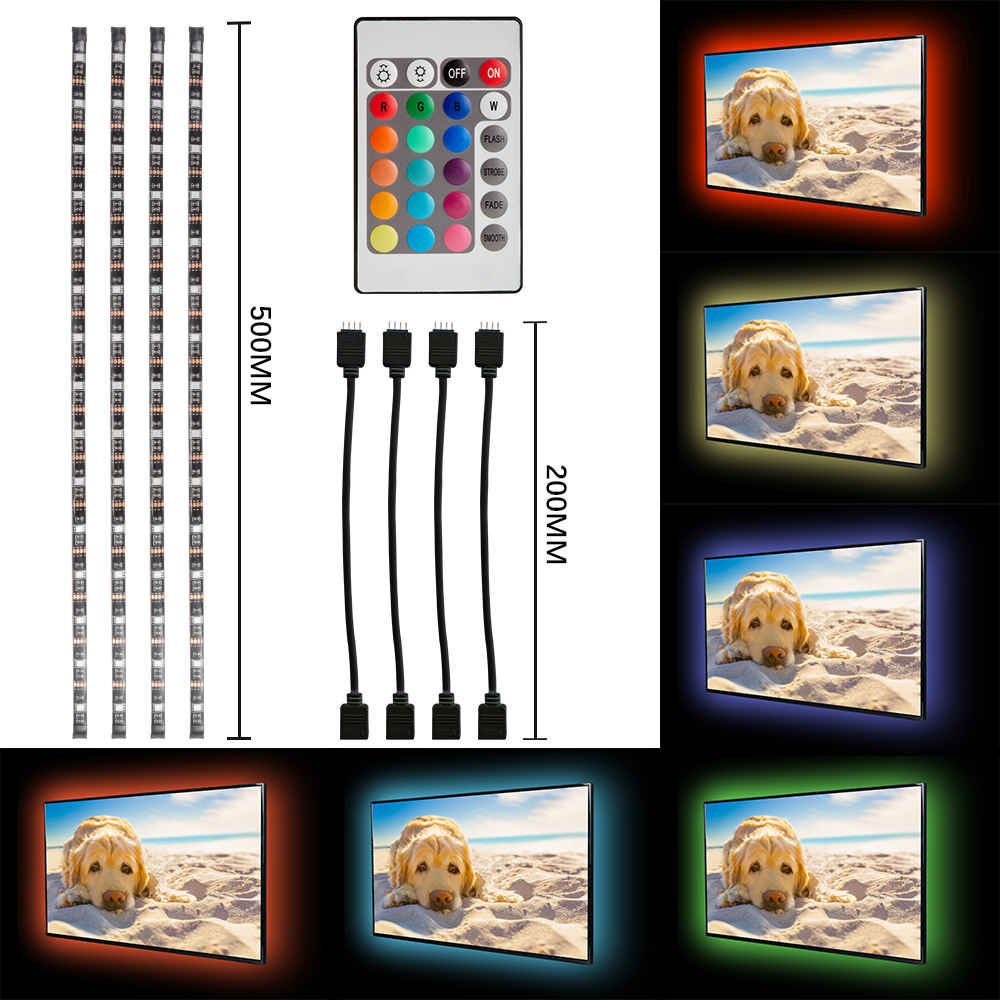 tv rgb led usb 4x 50cm fernseher backlight licht hintergrund beleuchtung ld1010 ebay. Black Bedroom Furniture Sets. Home Design Ideas