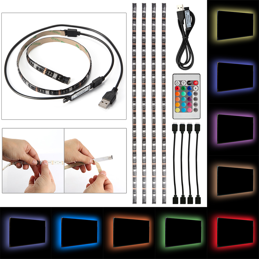 4x usb tv backlight rgb led strip color changing lighting for Led verlichting interieur