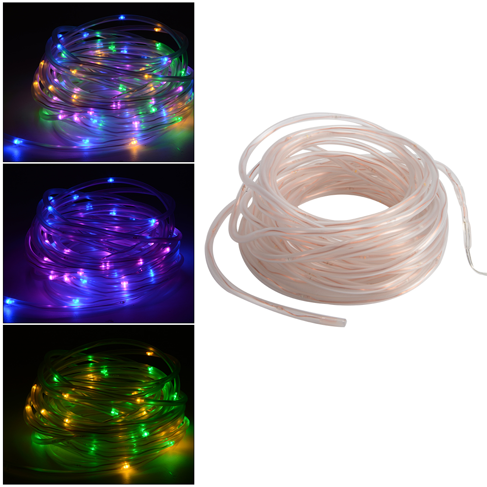 10m waterproof 100 rgb led solar battery powered rope. Black Bedroom Furniture Sets. Home Design Ideas