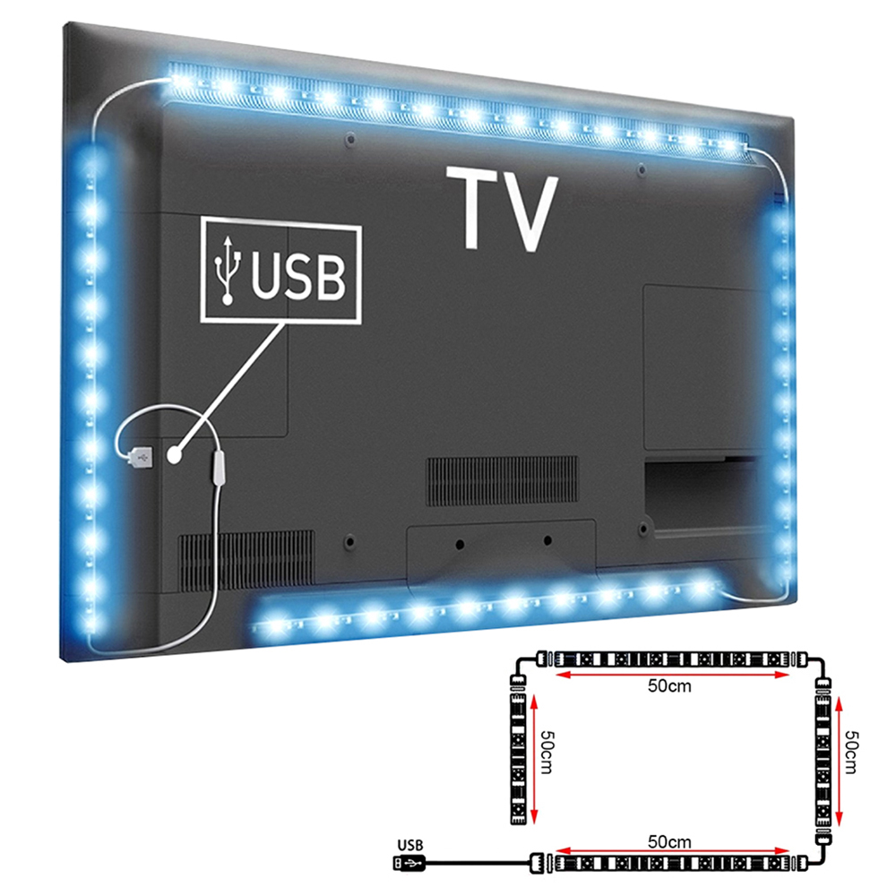 4x 50cm usb rgb bluetooth fernbedienung led streifen tv hintergrund licht ld1058 ebay. Black Bedroom Furniture Sets. Home Design Ideas