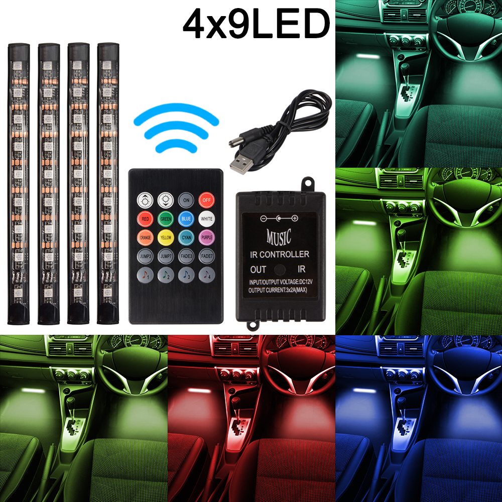 4x 12v car interior 9led rgb color changing strip light atmosphere mood ld1090 ebay. Black Bedroom Furniture Sets. Home Design Ideas