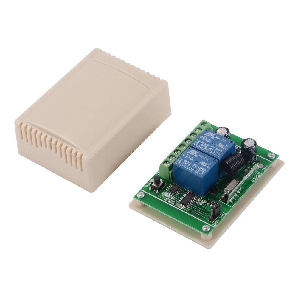 Dc12v transmitter 2 ch 433mhz remote garage door opener switch 2 x remote control transmitters 1 x receiver rubansaba