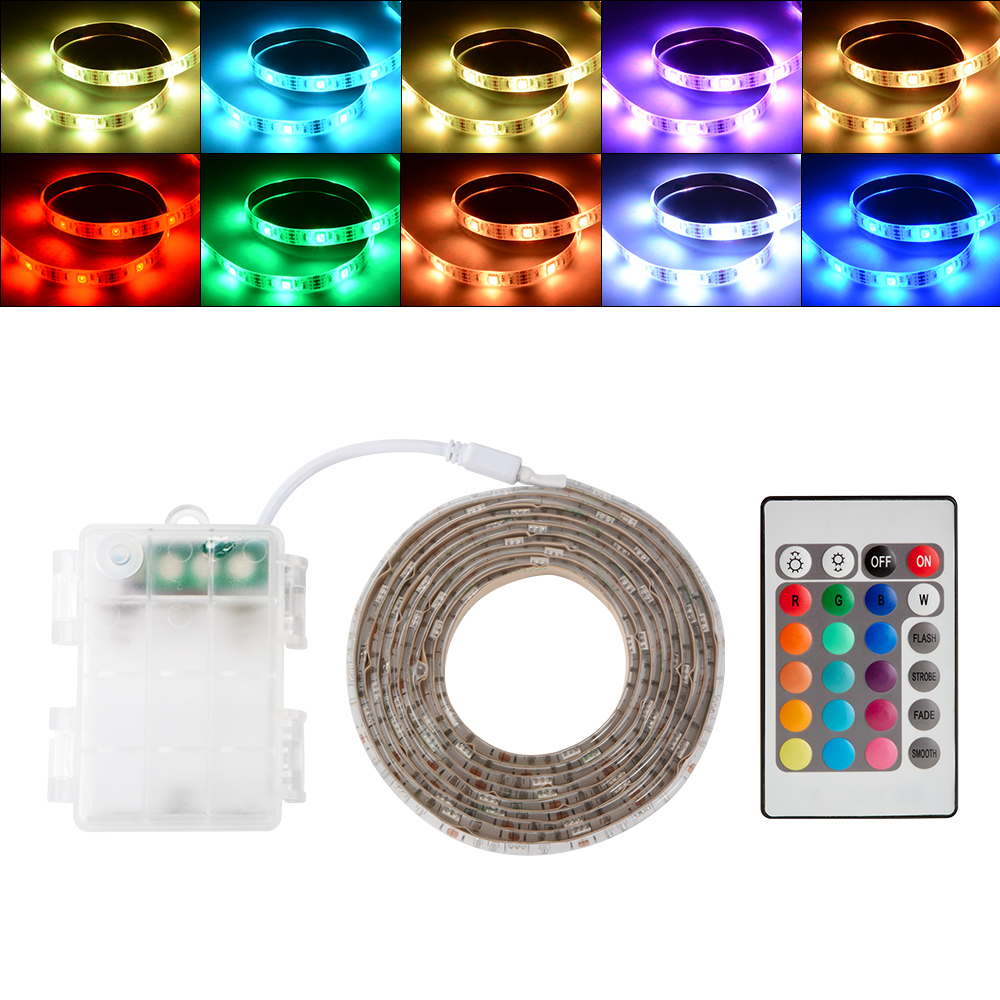 0 5 2m led rgb strip leiste batteriehalter mit mini for Fenetre 0 5 5