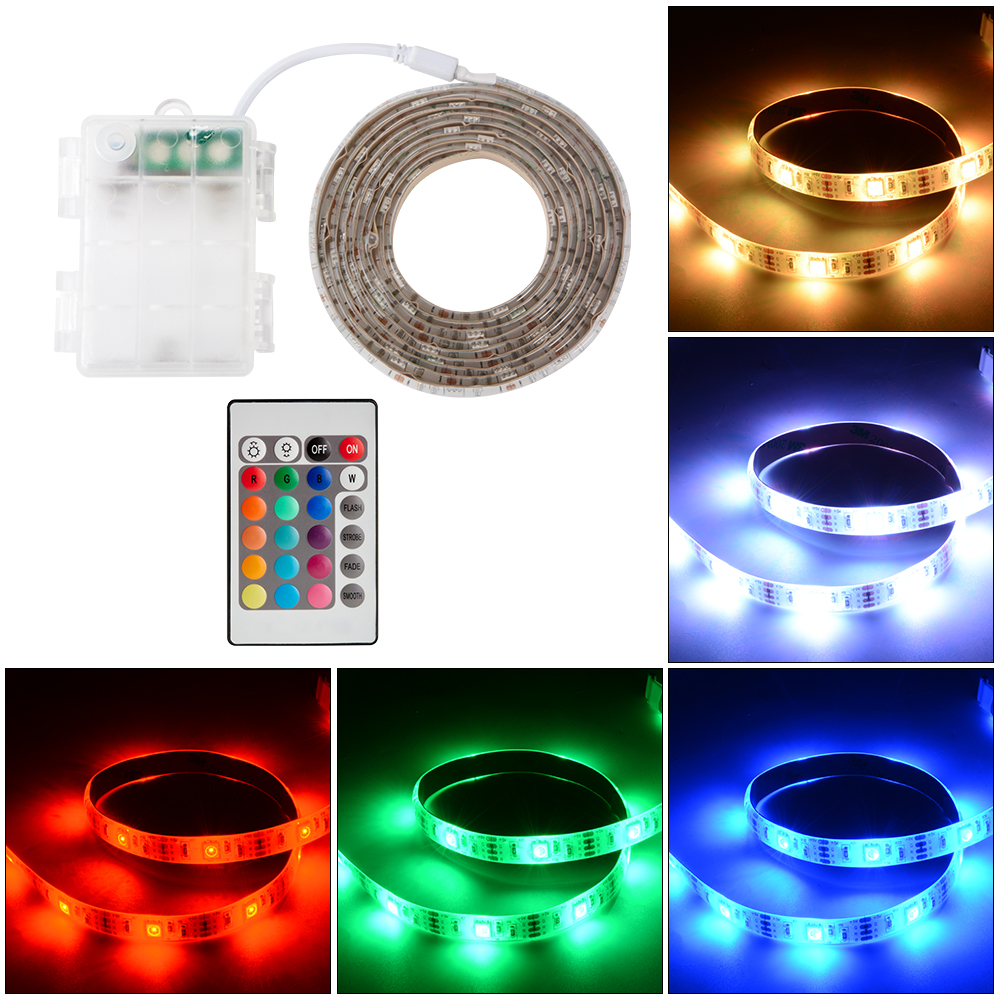 Waterproof 50cm100cm200cm battery powered rgb led strip light waterproof 50cm100cm200cm battery powered rgb led strip light remote control mozeypictures Image collections