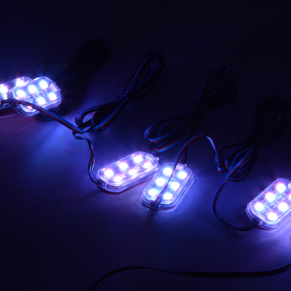6pcs Multi Color RGB Motorcycle ATV 6-LED Hidden Under