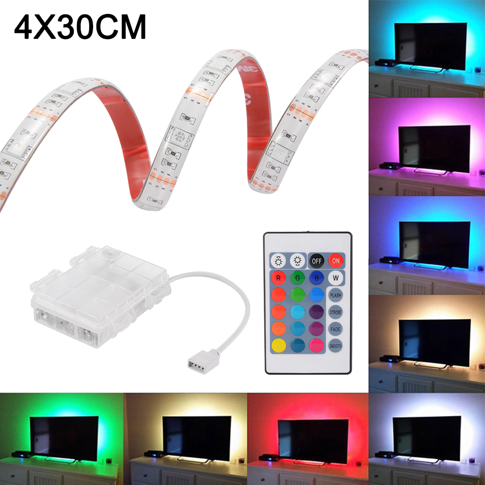 4pcs rgb led streifen lichtband batteriebetrieben beleuchtung dekor ld1521 ebay. Black Bedroom Furniture Sets. Home Design Ideas