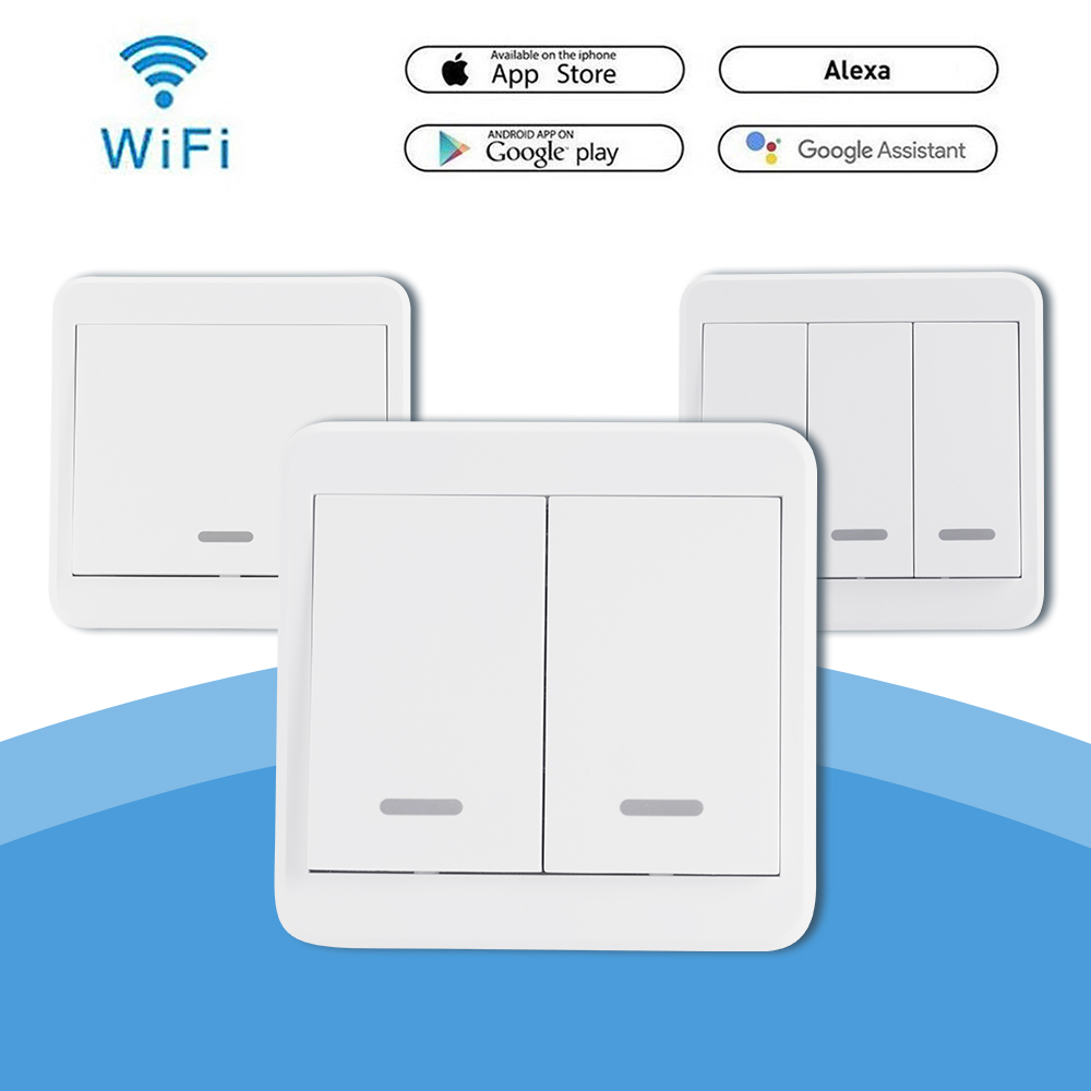 Details about 1/2/3 Gang WIFI Smart Wall Light Switch Panel For Echo Alexa  Google AC90-250V