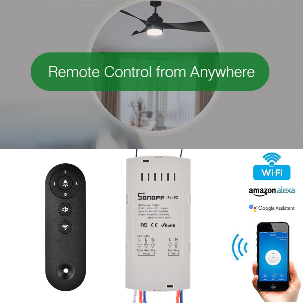 Details about Sonoff IFan02 Smart WiFi Ceiling Fan Remote Controller Alexa  APP Switch LD1844