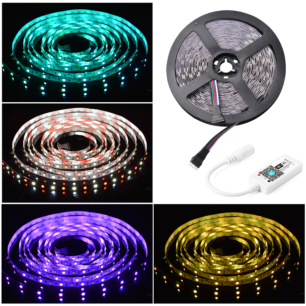 5m rgb wasserdicht led wireless strip streifen leiste licht wifi controller app ebay. Black Bedroom Furniture Sets. Home Design Ideas