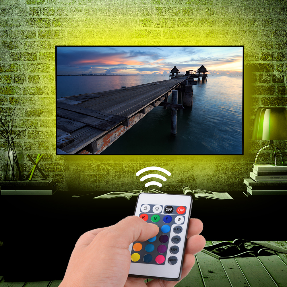4x 50cm usb rgb led streifen leiste stripe tv beleuchtung fernbedienung ld992 ebay. Black Bedroom Furniture Sets. Home Design Ideas