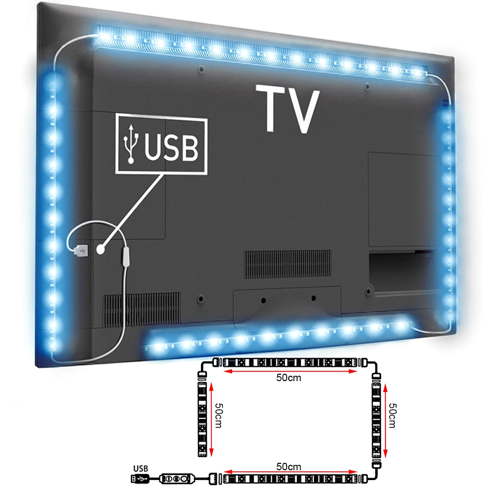 4x usb led rgb tv hintergrundbeleuchtung streifen leiste fernseher remote ld992 ebay. Black Bedroom Furniture Sets. Home Design Ideas