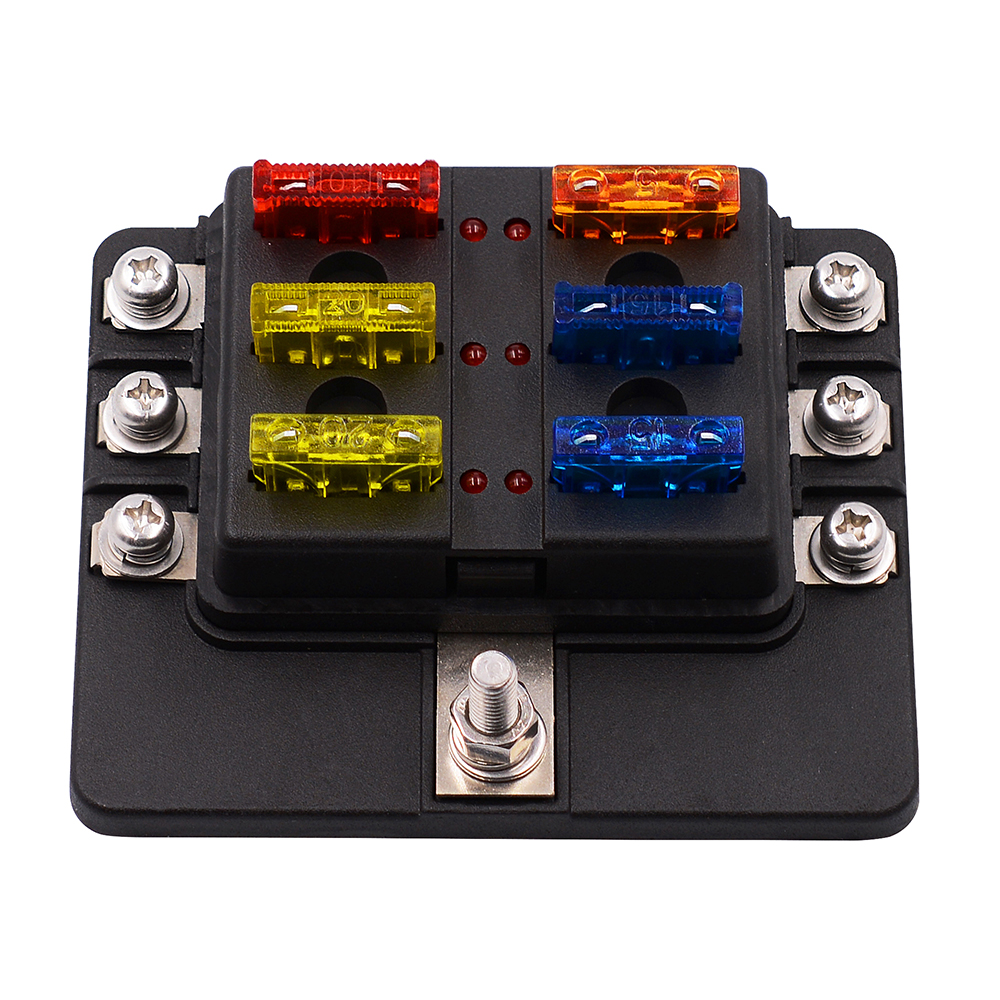 6 way blade fuse box block holder led indicator for 12v. Black Bedroom Furniture Sets. Home Design Ideas
