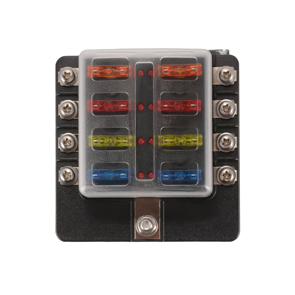 8-Way 5A 10A 15A 20A Blade Fuse Box Block for 12V 24V Car Marine MA1285