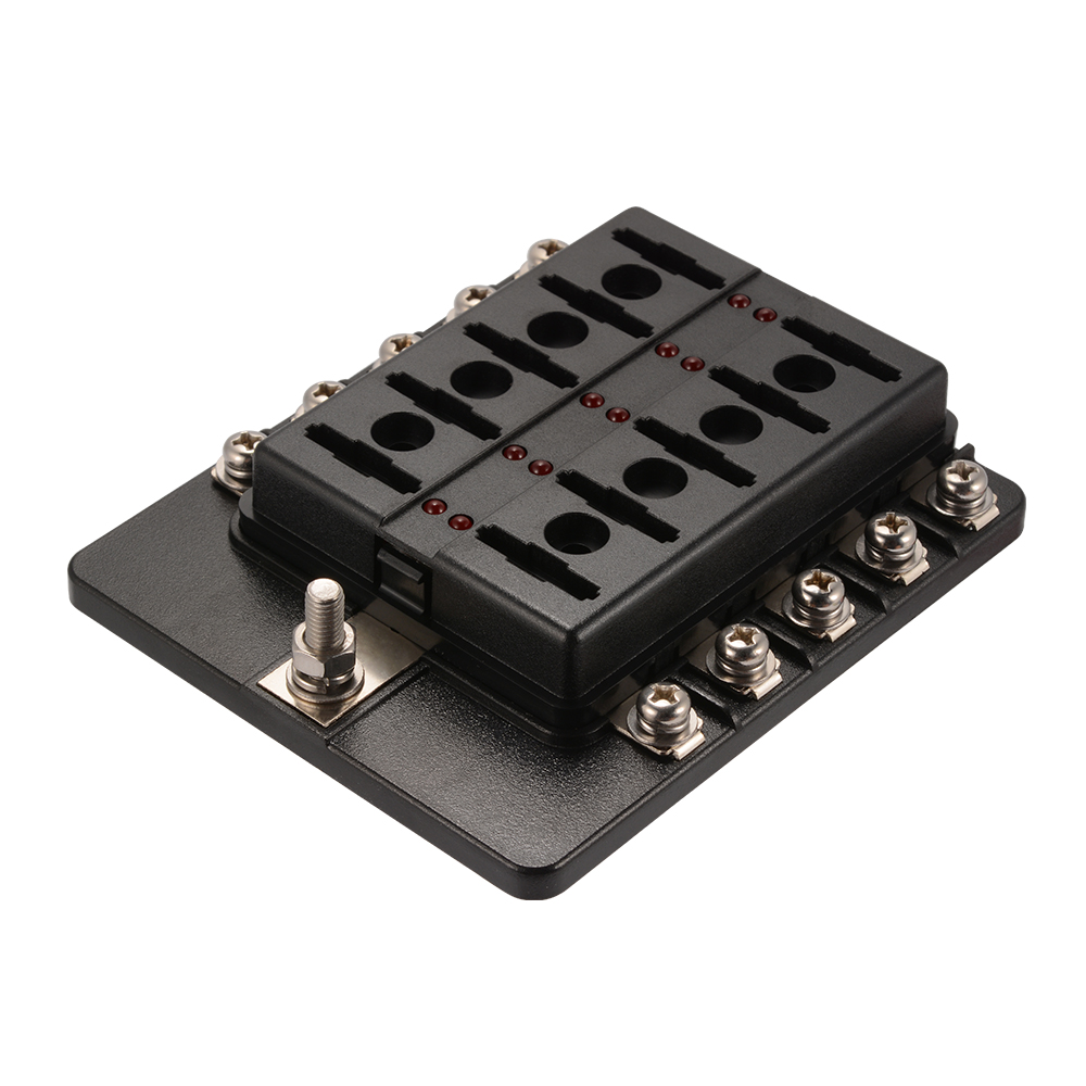 12V 24V 10 Way Blade Fuse Box Holder Bus Bar W LED