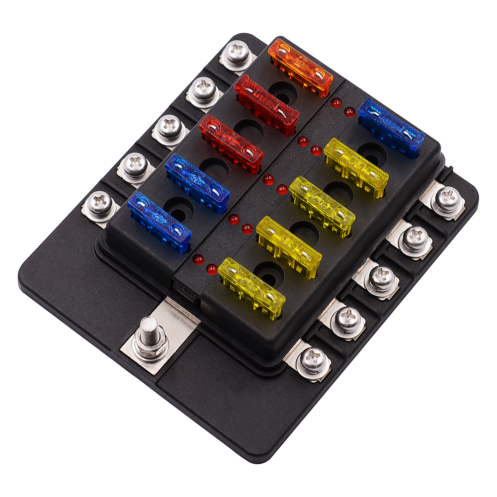 10 Way 12v 24v Blade Fuse Box Block Blown Indicator Protection Fixing Cover Ma1286