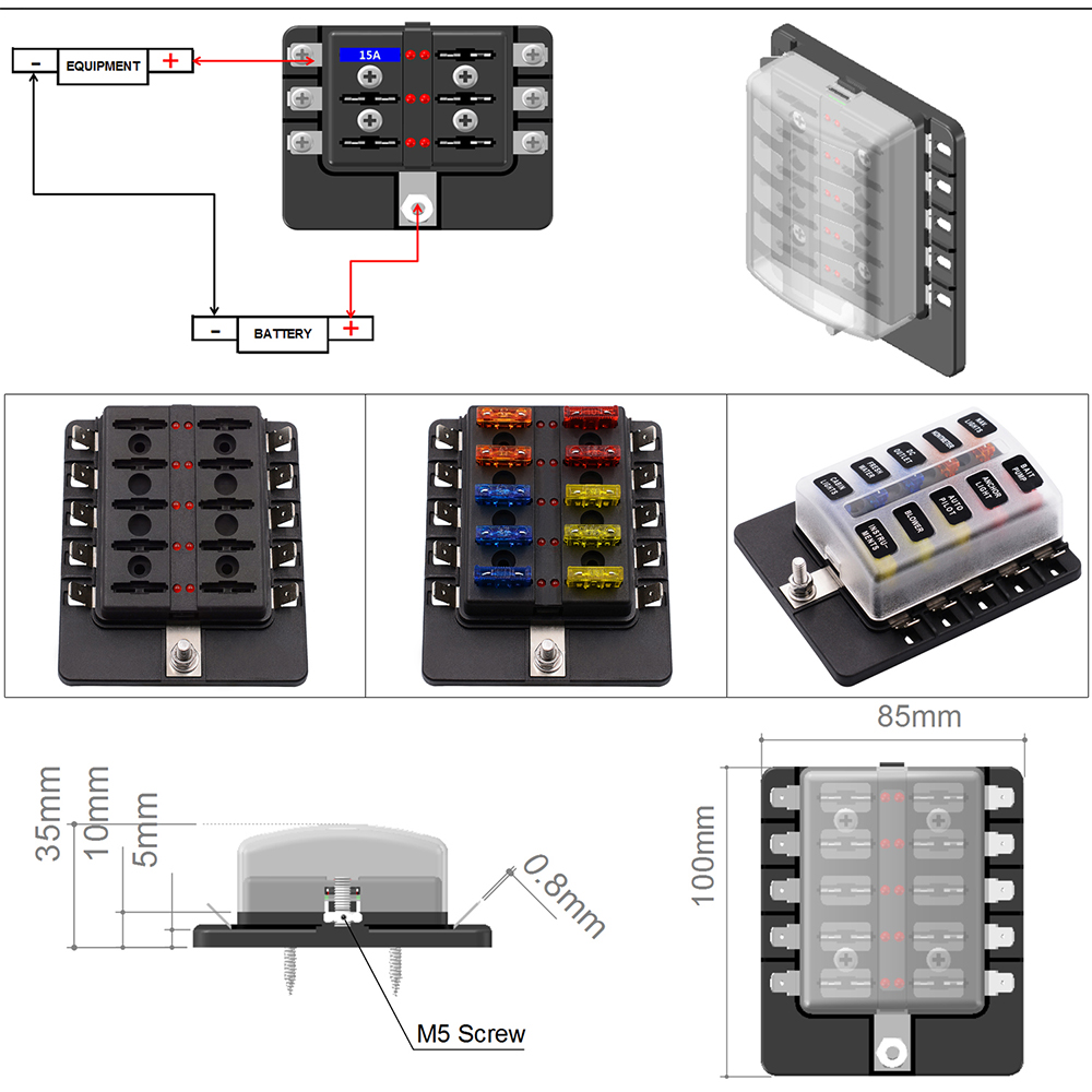 star quest bus fuse box 12v/24v 10-way blade fuse box holder bus bar w/ led ... 1971 bus fuse box