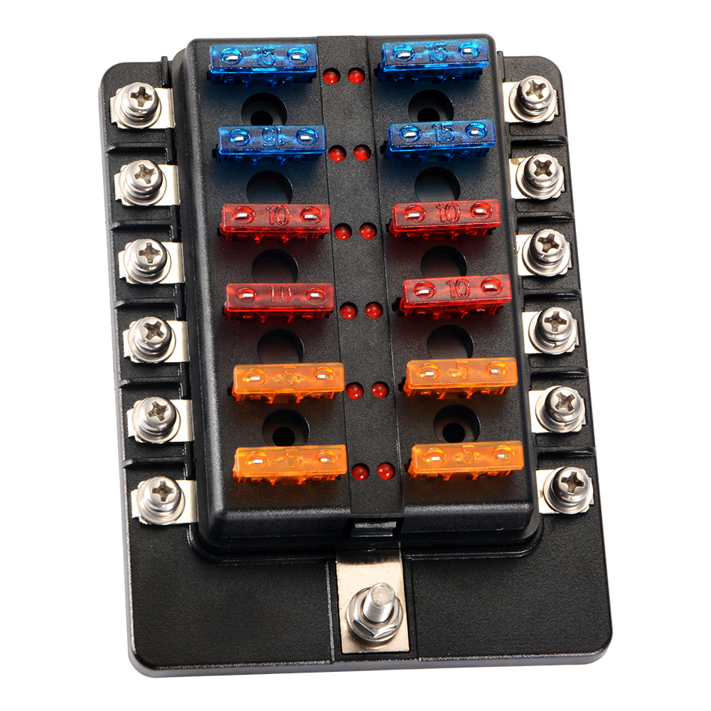 12 Way Car Auto Boat UTV Blade Fuse Box Block Cover 12V w/ LED Indicators  MA1664