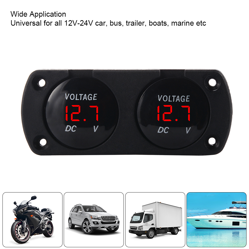 Details about 12V 24V Dual Battery Monitor LED Display Voltmeter Voltage  Marine Gauge MA1834