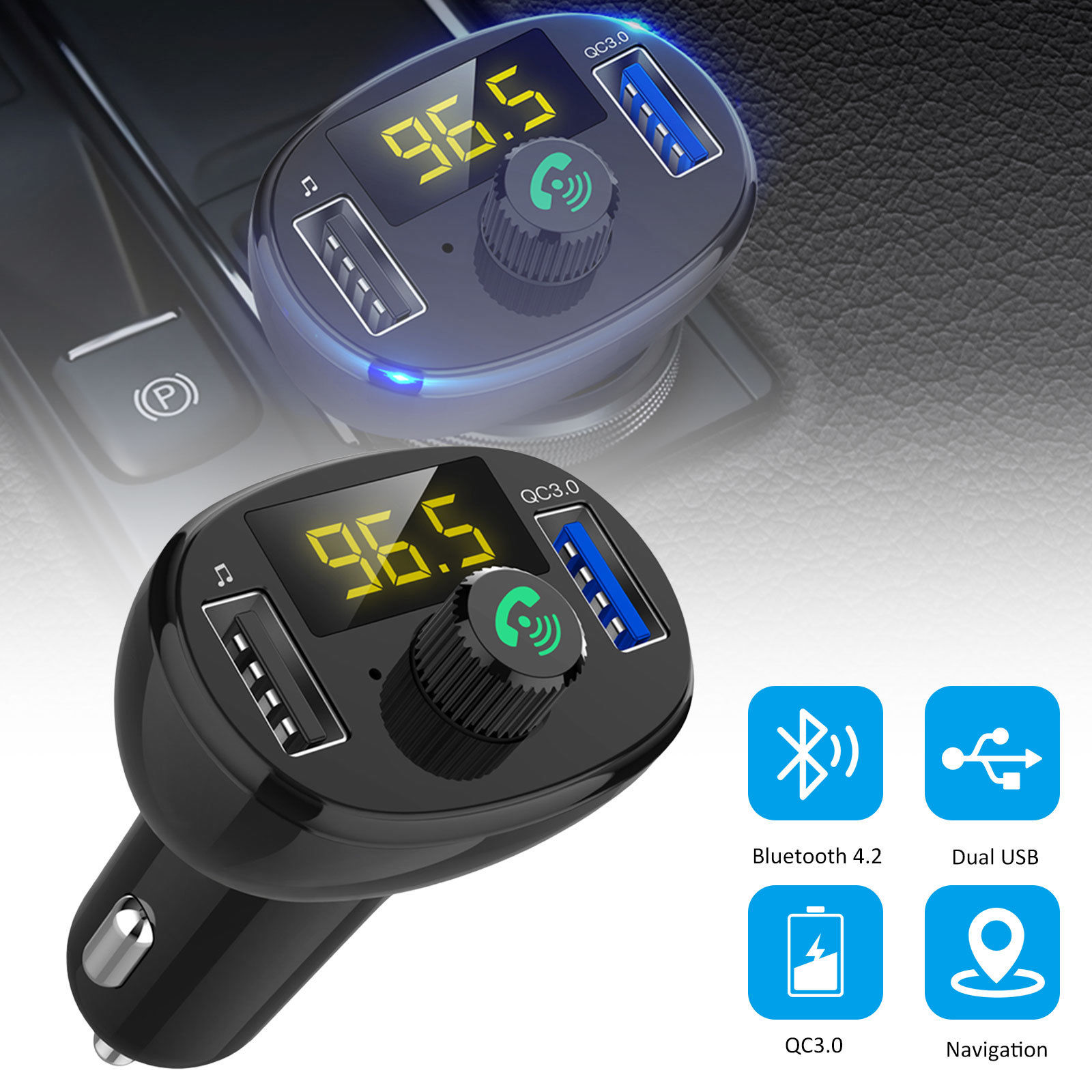 QC3.0 Wireless NEW Car USB Charger FM Transmitter Radio Adapter MP3 Player