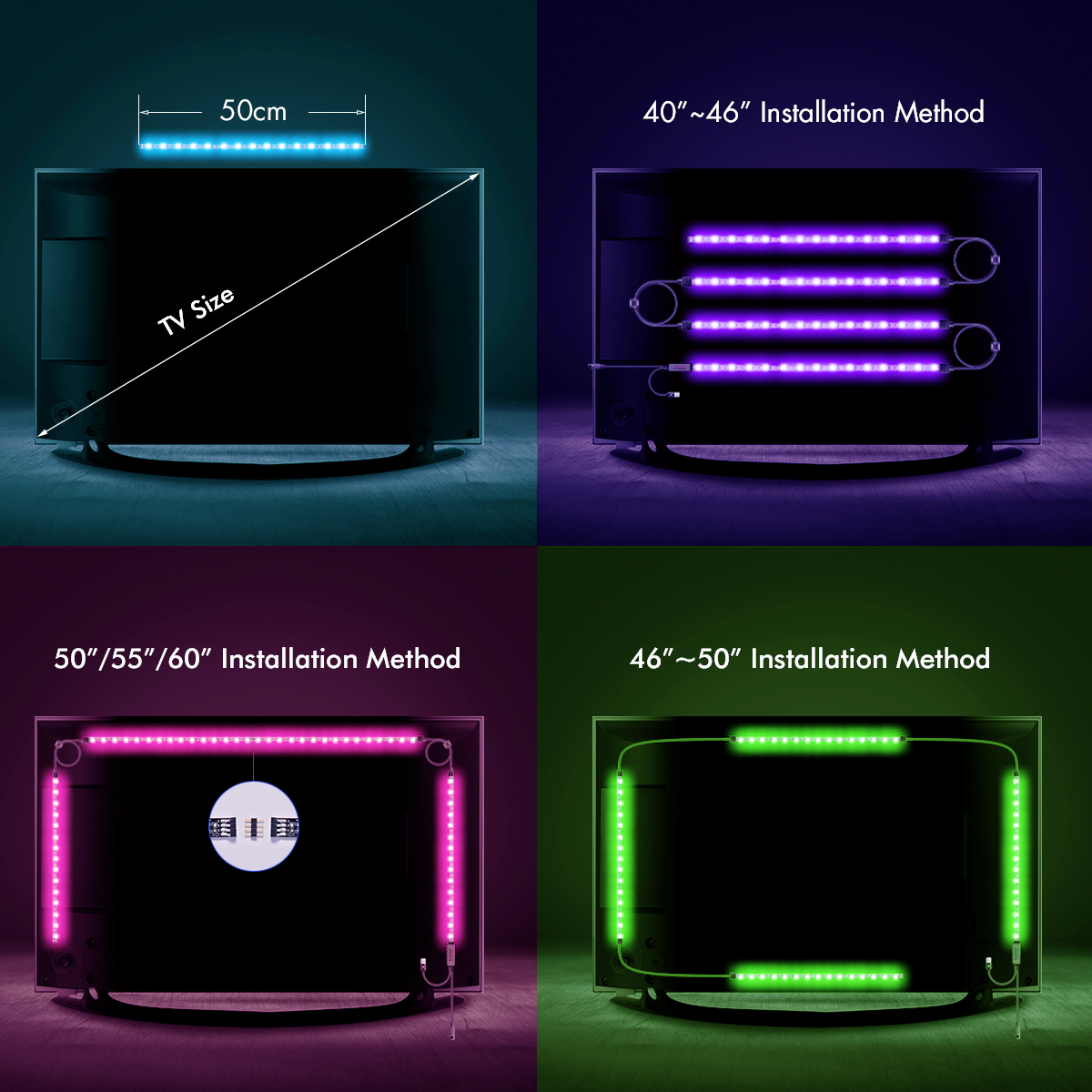 Led tv backlight powered rgb usb led strip lights for 40 to 60 inch 4 x 50cm164ft led strip 3 x 50cm164ft connetors for led strip 1 x 50cm164ft usb cable 1 x 44 key remote 1 x manual 5 x adhesive hooks aloadofball Images