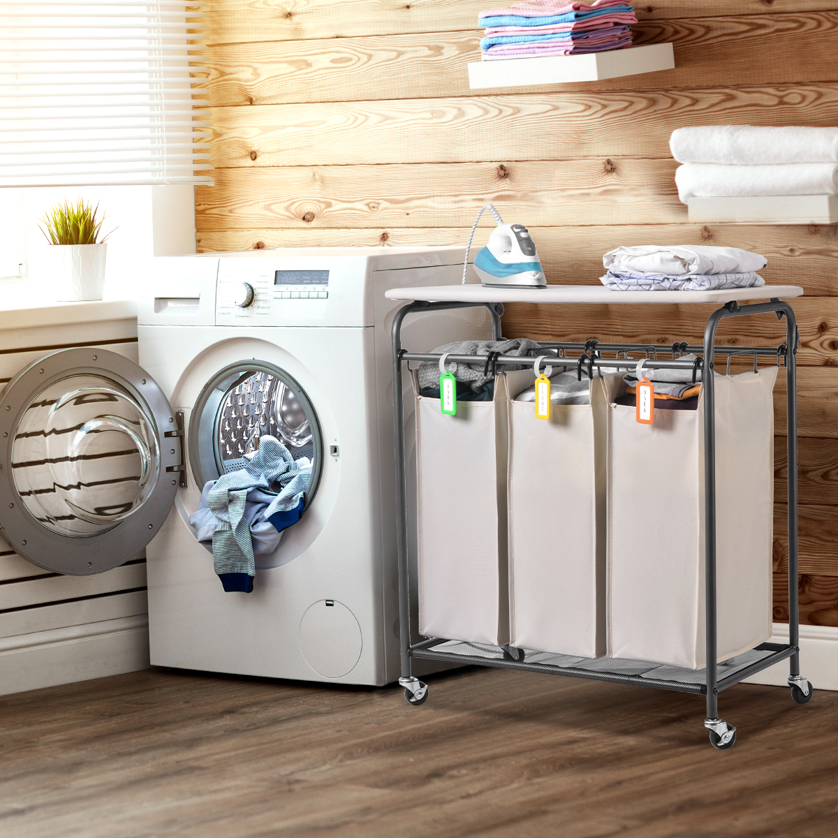 Details About Laundry Cart Basket Triple Bag Sorter Bathroom Hamper Bins Clothes Storage Su347
