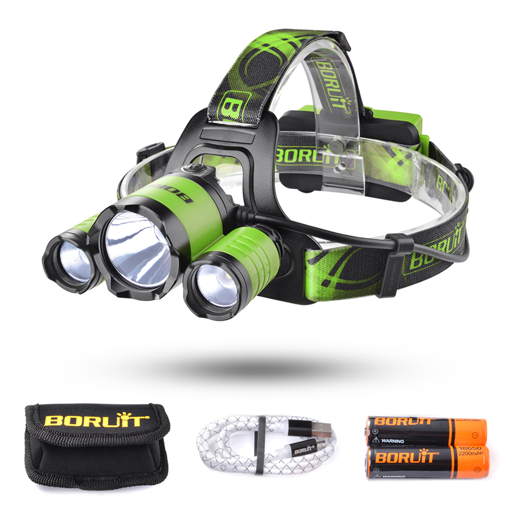 BORUiT CREE L2 + 2 XPE LED Headlight Head Lamp for ...