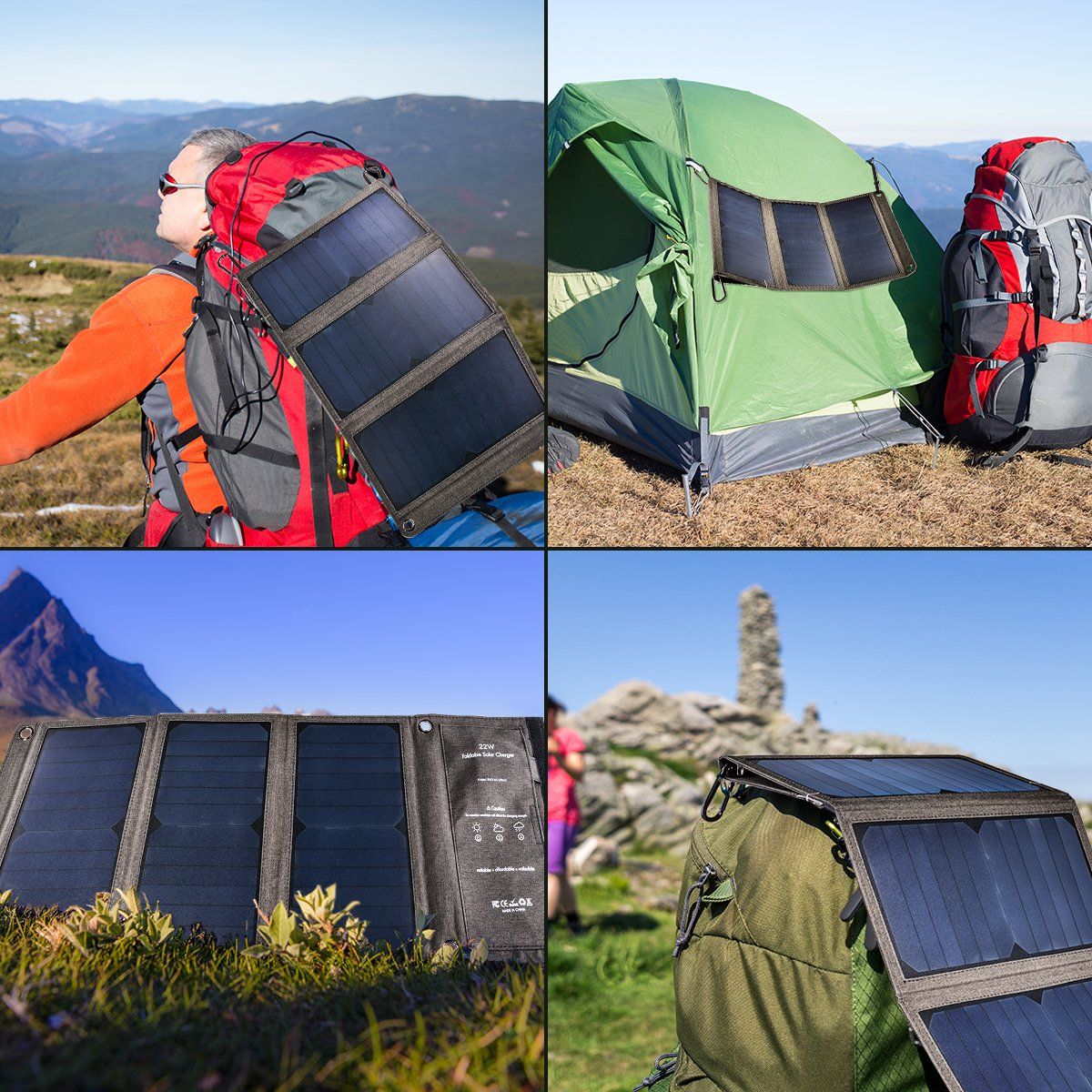 c41c845fd0ad Details about 22W Lightweight Foldable Solar Panel Power USB Port Battery  Charger Camping SU82