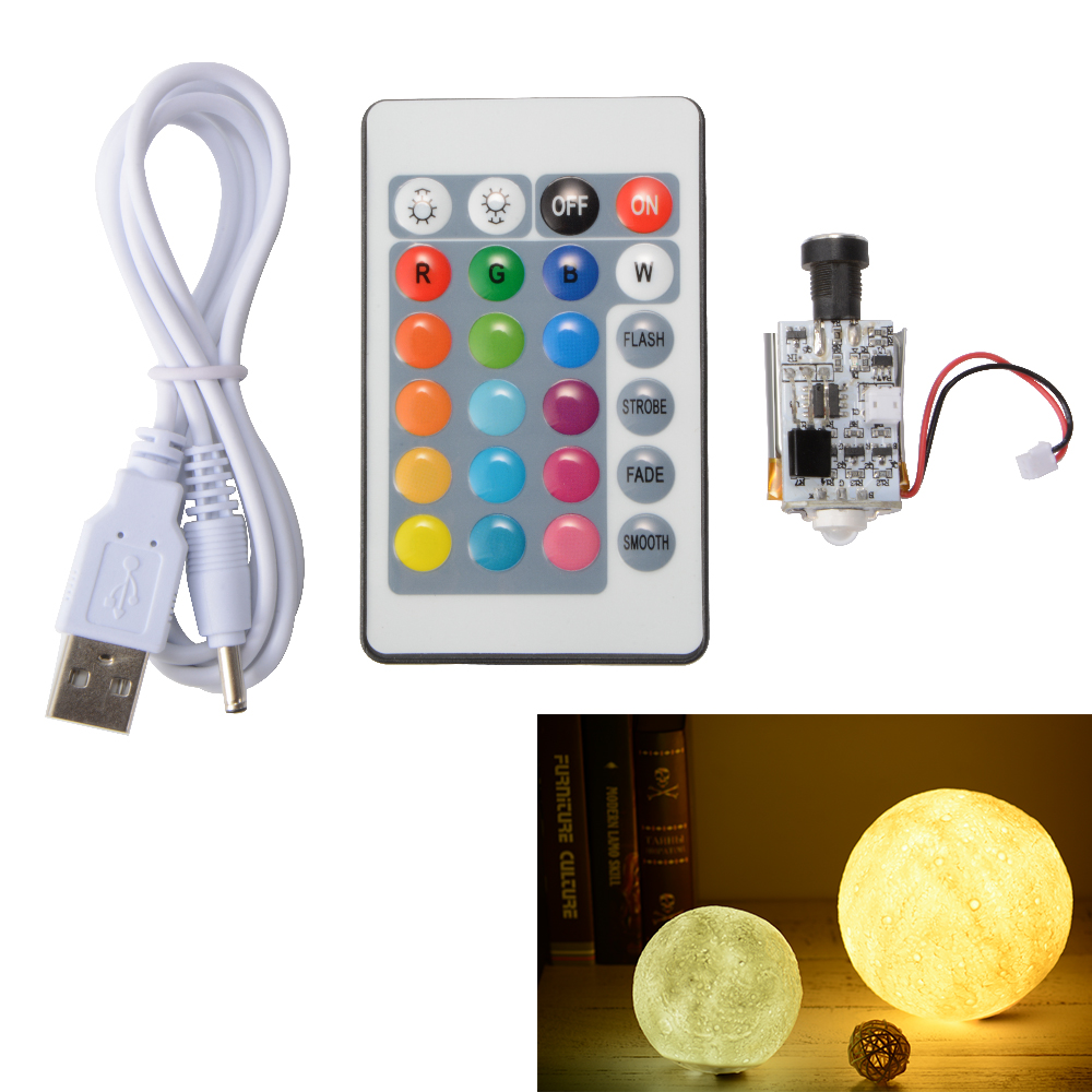 Circuit Board Usb Remote Control 16 Color Diy 3d Printing Moon Light Boardbuy Cheap 1 X With Battery To Dc Cable Controller